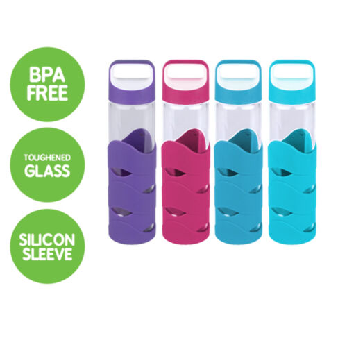 FREE SHIPPING NEW 4 x GLASS WATER BOTTLES WITH BPA FREE LID