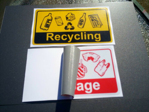 170x95mm  Offer /& Fast Delivery Laminated Stickers Pack 5 Garbage /& Recycling