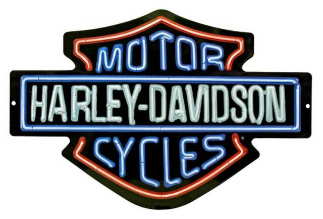 harley davidson neon lights embossed bar shield tin sign 19 x 12 in rh ebay com harley davidson bar and shield logo harley davidson bar and shield logo history