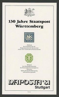 Briefmarken Gewidmet WÜrttemberg Sonderdruck Ausstellungs-katalog Naposta 1981 Selten! Deutschland Z2707