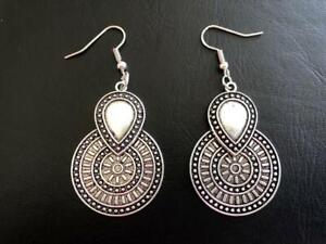 Silver-Boho-Earrings-Tribal-Ethnic-Gypsy-Bohemian-Teardrop-Disc-Coin-Turkish