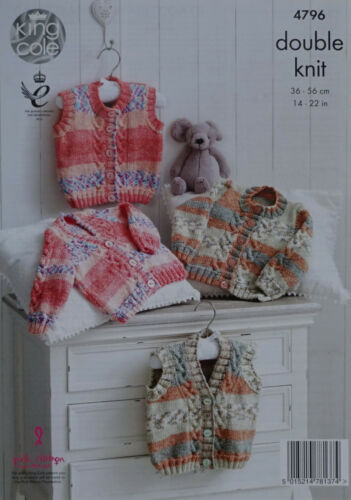 KNITTING PATTERN Baby Cable Cardigans /& Waistcoats King Cole DK 4796