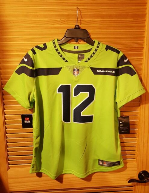 best service 15fb1 d662e Nike Seattle Seahawks Color Rush 12th Man Limited Jersey-actn  Grn/nvy-women's L
