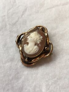 Antique-Cameo-Brooch-1890s-Victorian-Jewellery-Rolled-Gold-Portrait-Shell