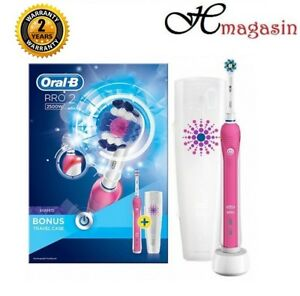 ORAL B PRO 2500W 3D PINK WHITE ELECTRIC RECHARGEABLE TOOTHBRUSH ... 1d49df46c351