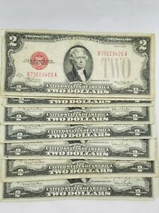 1928 Two Dollar $2 Red Seal Note Old US Currency Bill Average Circulated