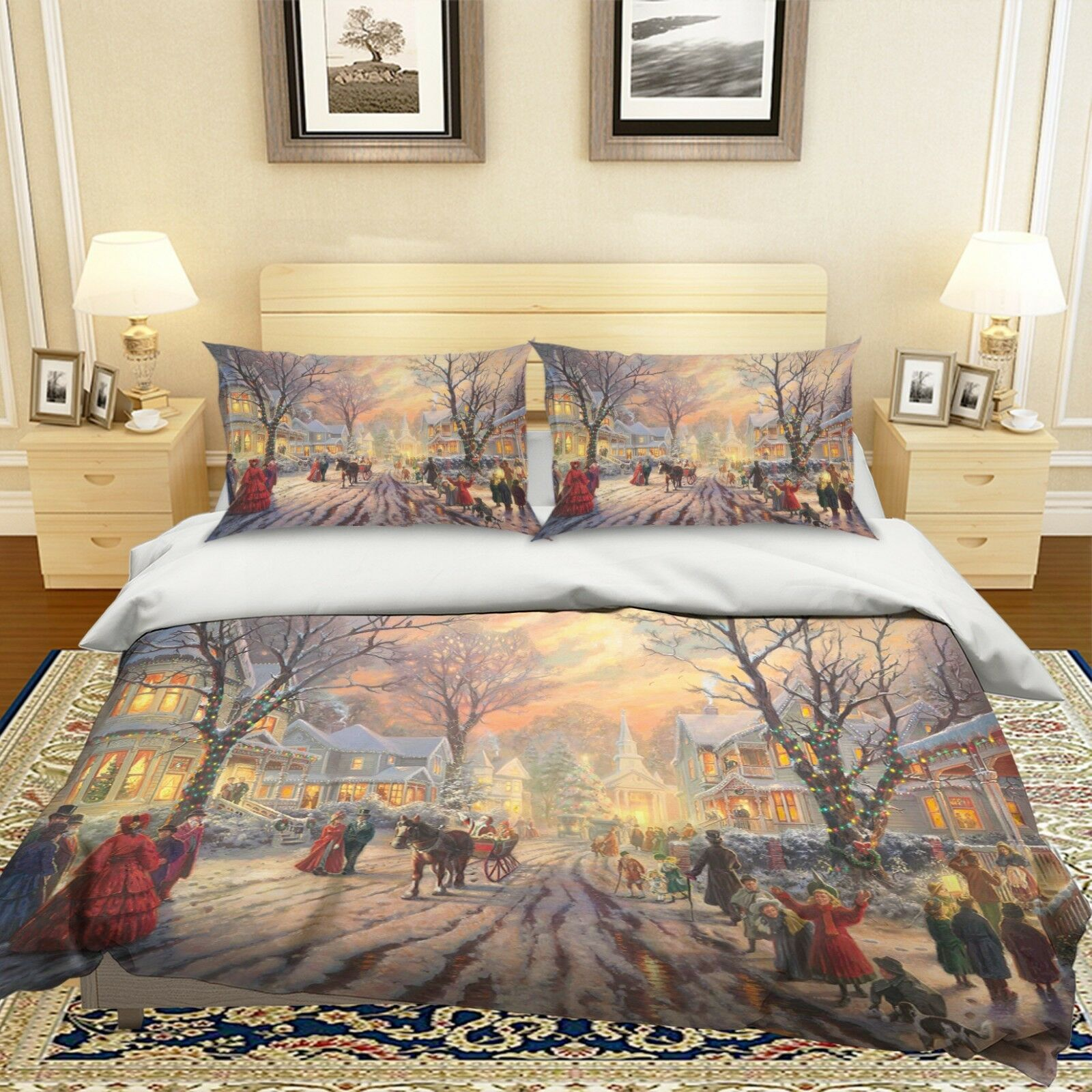 3D Christmas Xmas Snow 62 Bed Pillowcases Quilt Duvet Cover Set Single King UK
