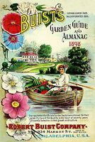 1898 Buists Garden 2 Vintage Flowers Seed Packet Catalogue Advertisement Poster