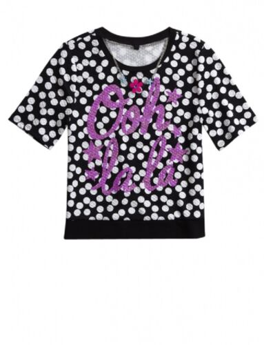 NWT Justice Girls Size 12 or 14 Pattern Necklace Tee Shirt Top Pink Black Floral