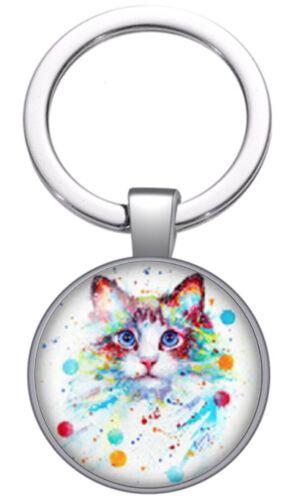 Cat Lover Keyring Gift Keychain Fob Key Ring Silver Kitten Birthday Handmade New