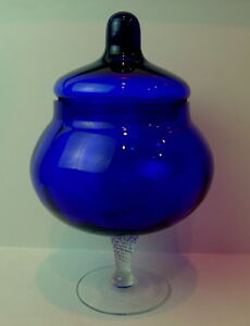 Blue-Cobalt-Candy-Compote-Glass-Dish-clear-swirled-pedestal-stem-base