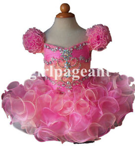 Infant//toddler//baby Peach Stunning Glitz Crystals Floral Lace Pageant Dress G018