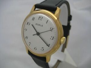 NOS NEW VINTAGE MECHANICAL HAND-WINDING ANTI MAGNETIC EDELE MEN'S ANALOG WATCH
