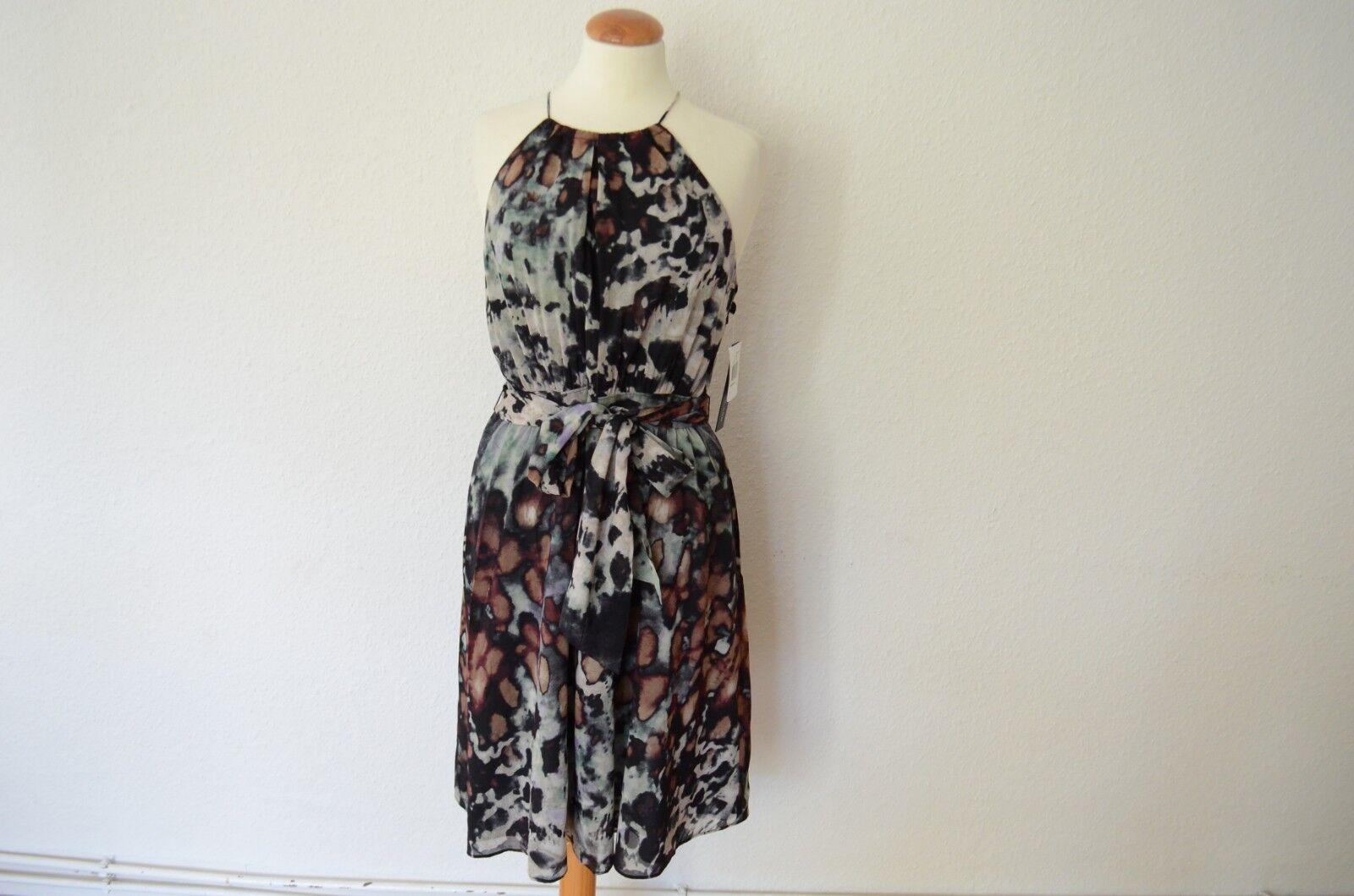 ANDREW MARC New York Print Abendkleid Seide Gürtel NEU  38 10 Kleid