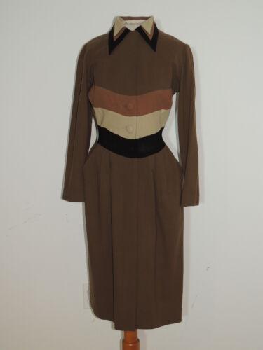 Howard Greer Elegant 1950's Brown Wool Crepe Dress