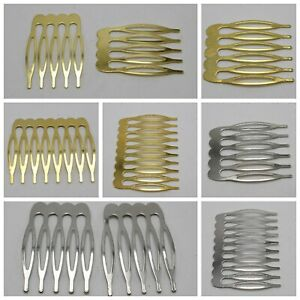 20 Silver Gold Blank Metal Hair Comb with 5-10 Teeth For Bridal Hair Accessories