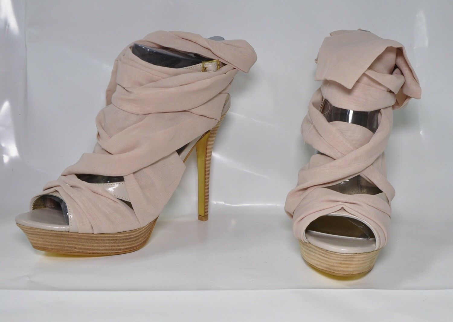 Mariah Carey nude wrap-up hi-heel sandals - Size 11, w 5.25  heel - New
