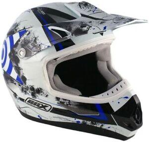 BOX MX5 TARGET GLOSS WHITE BLUE MX MOTORCROSS CRASH HELMET LID
