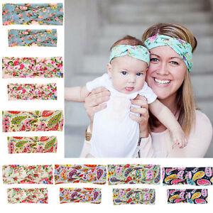 Mother-amp-Baby-Twisted-Headband-Floral-Bow-Hairband-Turban-Knot-Head-Wrap-2pcs