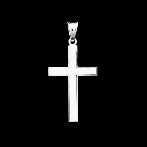 NEW Cross Pendant 14K Solid White Gold Crucifix Religious Hollow Charm for Chain