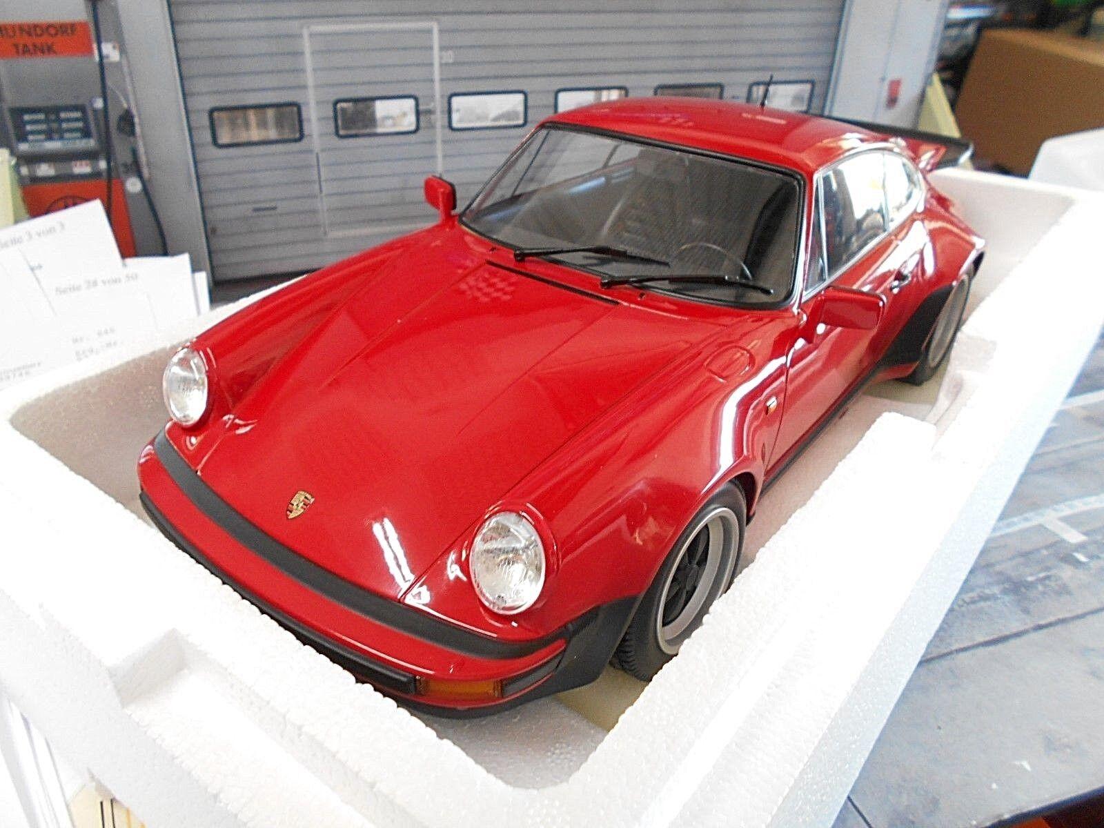 Porsche 911 930 Turbo Coupe rosso rosso 3.0 1976 Minichamps top rar enorme 1 12