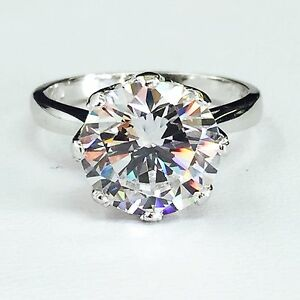 14K White Gold Large Round Cubic Zirconia Solitaire Engagement Ring