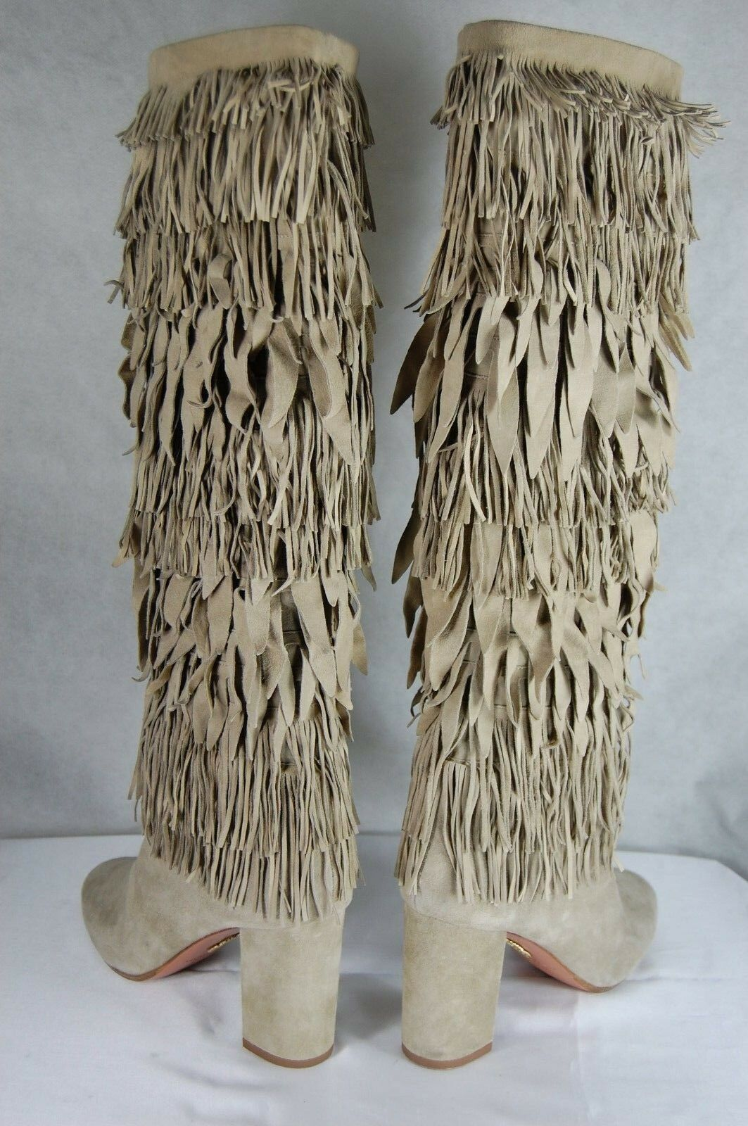 SUPER BEAUTIFUL AQUAZZURA 'WOODSTOCK' SUEDE FRINGE KNEE Stiefel EU 39 US 9
