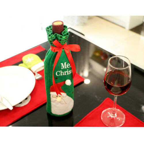 Christmas Wine Bottle Gift Bag Ornament Cover Home Party Dinner Decorative Craft