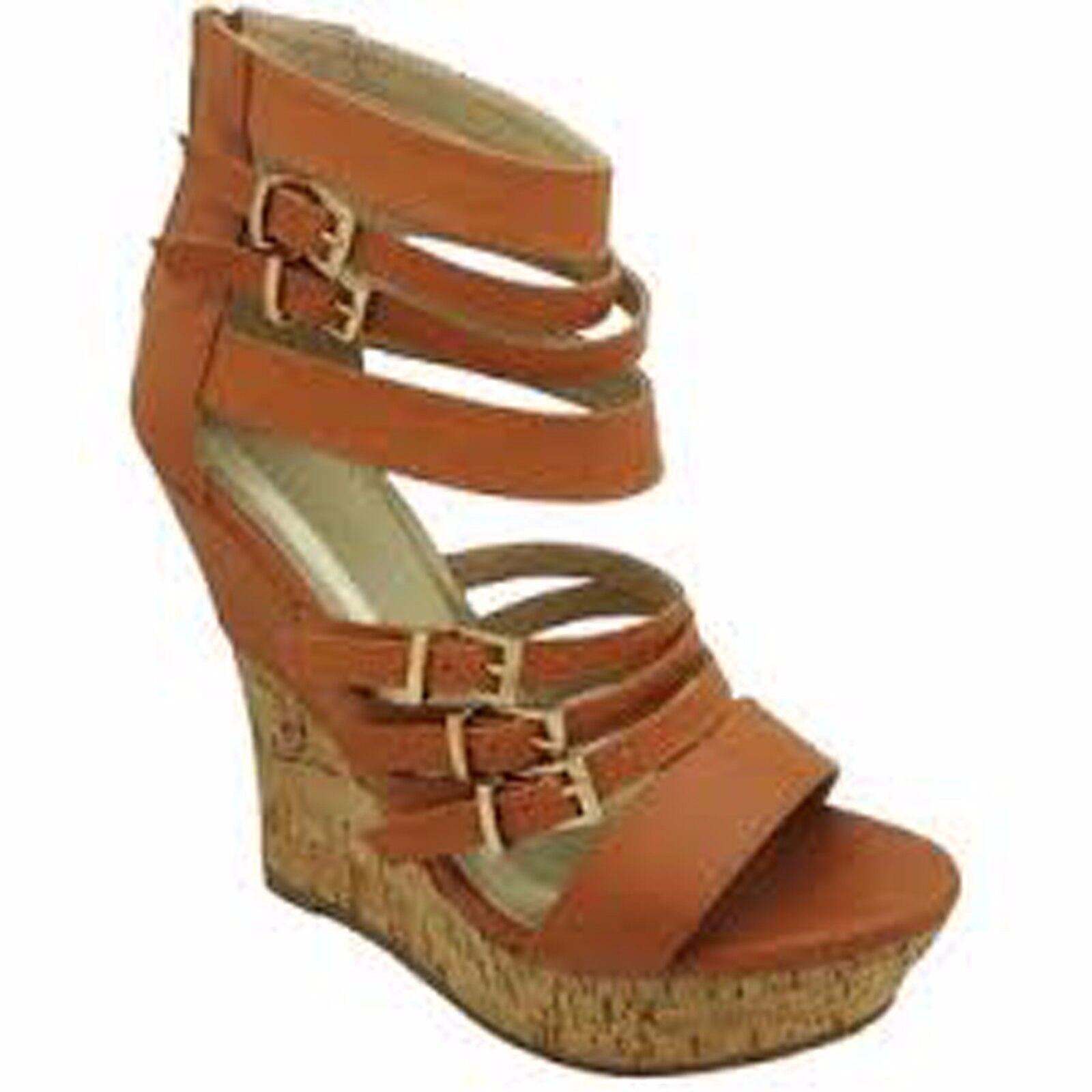 New French blue Ada High Wedge Sandals women's sz 7.5