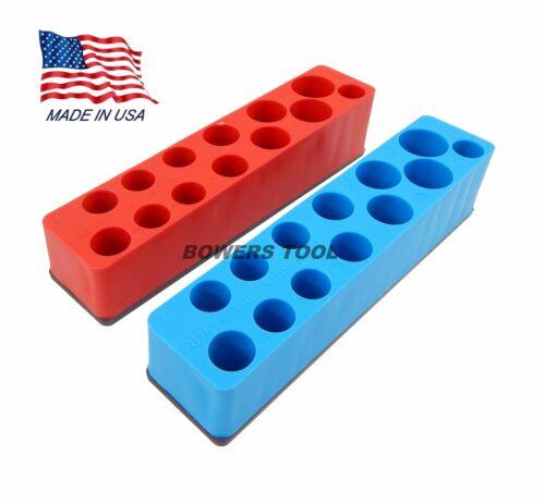 Mechanics Time Saver 3//8 Drive Magnetic Metric /& SAE Deep Socket Holder Set USA