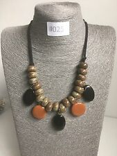 #025 UK Modern Statement Brown Beaded Necklace Chunky Beads Costume Jewellery