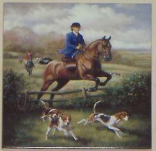"Lady Fox Hunt Equestrian Horse Ceramic Tile 6""x 6"" Kiln Fired Decor Back Splash"