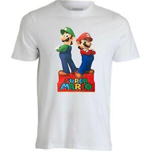 T-shirt-Maglietta-Super-Mario-e-Luigi-di-Supermario-Bros-bambini-e-adulti