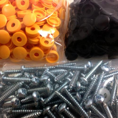 Pack de 500 plaque minéralogique fixation montage Self Tapotement Vis /& coloré Caps Kit