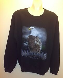 Details about Mens guys sweatshirt lost creek outfitters crews neck, M,  black (eagle)