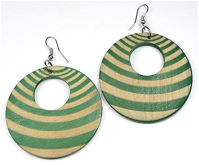 Neu 70mm Lang OhrhÄnger Holz Grün/hellbraun/braun Streifen Muster Ohrringe