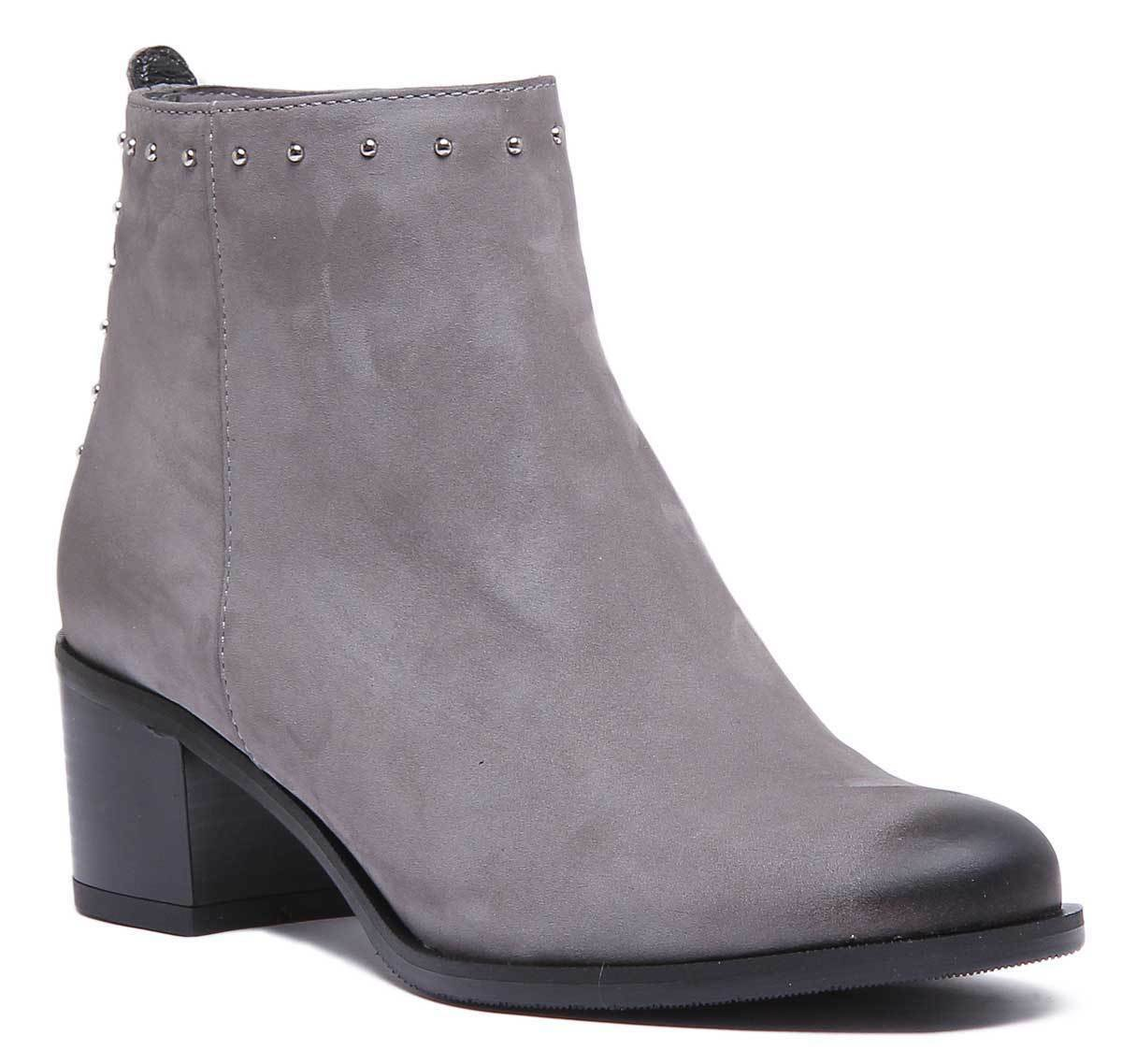 Justin Reece Ladies Studd Mid Heel Leather Pointed Boot Grey Size UK 3 - 8