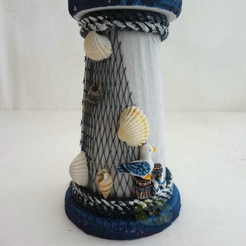 """Wood Beach Lighthouse Beaconhouse Ornament Figure 8.6/""""tall Nautical decor"""