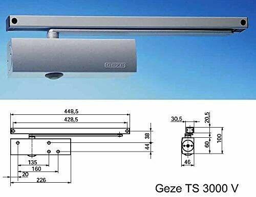 Ferme-Porte Geze TS 3000 V blanc avec Rails de Coulissement RAL 9016 neuf