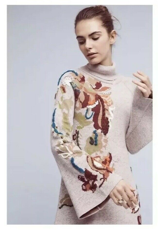 9. Anthropologie Knitted & Knotted Embroiderot Petals Swing Sweater Dress NWOT S