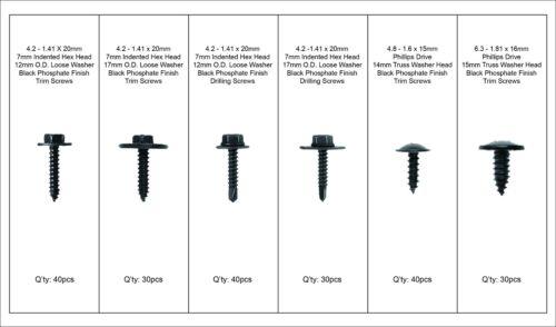 Swordfish 60560-210pcs Hex and Phillips Drive Black Trim Screw Assortment