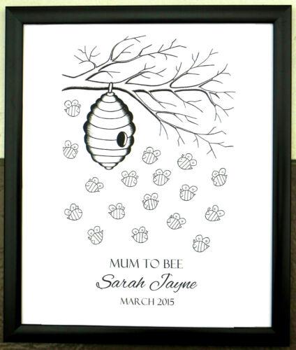 A3 personalizado de huellas digitales árbol Libro de visitas Abejas día b Bautizo Baby Shower 1