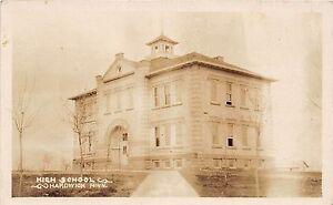 C78-Hardwick-Minnesota-Mn-Real-Photo-RPPC-Postcard-c1910-High-School-Building