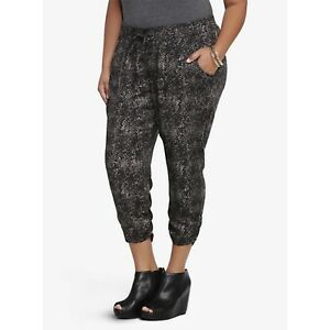1009524c900 Details about NWT Torrid Women 4 4X 26 Cropped Snake Print Soft Harem Pants  Plus Size New