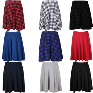 Ladies Blue Hunting Tartan Full Circle Skater Skirt With Elasticated Waistband