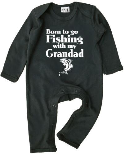 """Baby Pêche Vêtements /""""Né pour aller pêcher avec mon grand-père/"""" garçon fille surpyjama"""