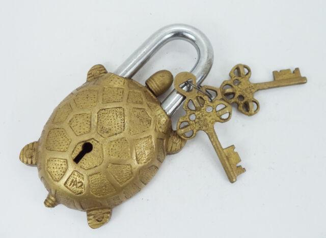 "650045237635 Garden Lock Functional Brass Turtle Padlock 5.5"" with Two Keys"