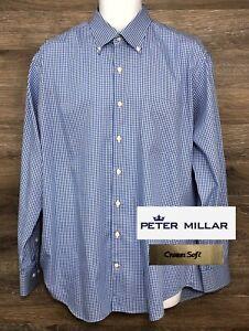 Peter-Millar-Crown-Soft-Men-039-s-Silk-Cotton-Blue-Long-Sleeve-Button-Down-Shirt-L