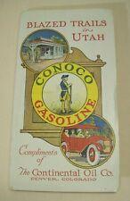 """1921 CONOCO UTAH ROAD MAP UNUSED 28"""" x 22"""" CONTINENTAL OIL POLARINE ADVERTISING"""