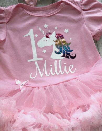 PERSONALISED 1ST BIRTHDAY TUTU Romper Baby Girl 1 Unicorn and Name Party Dress